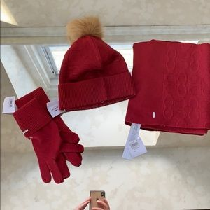 COACH. Hat/scarf/ gloves- more of a maroon color-